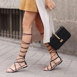 Zara Black Leather Gladiator Sandals Size 40